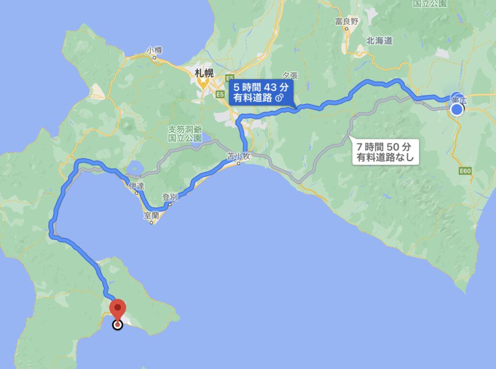 帯広函館間の高速経由でのルート案